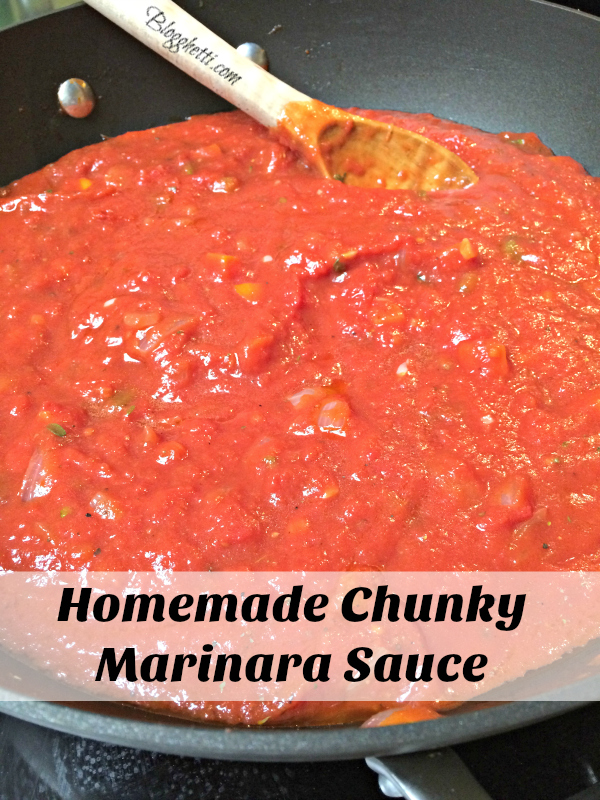 homemade chunky marinara sauce simmering
