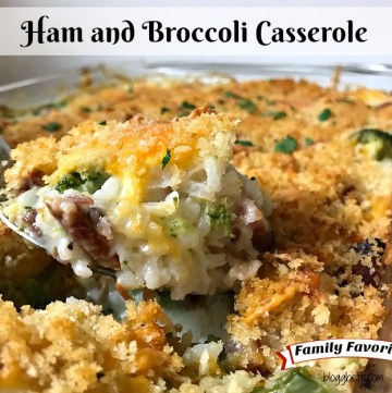 This Ham and Broccoli Casserole is filled with ham, broccoli, and rice with a creamy white sauce, topped with a blend of pepper-jack, Colby cheese, and Panko bread crumbs. It's a great way to use up leftover ham!