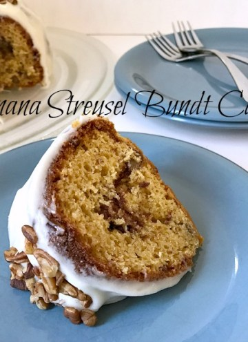 This Banana Streusel Bundt Cake is a perfect way to use up those very ripe bananas you have just laying around. The cake is simply delicious, moist, and you won't believe it came from a boxed cake mix!