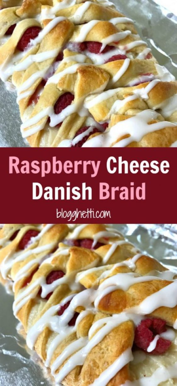 This Raspberry Cheese Danish Braid is so easy to make and it starts with a can of crescent dough.  The danish is filled with cream cheese and fresh raspberries and then topped with a sweet glaze.  Change up the fruit with your any of your favorites or a combination.