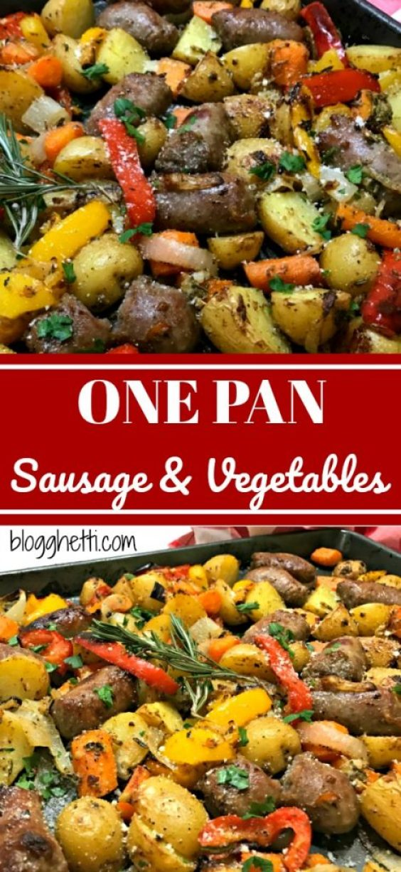 A one pan meal of Italian Sausages, carrots, potaotes, onions, and bell peppers all roasted in the oven with a rosemary, Parmesan cheese, and Dijon dressing. Simple, delicious, and clean-up is a breeze!