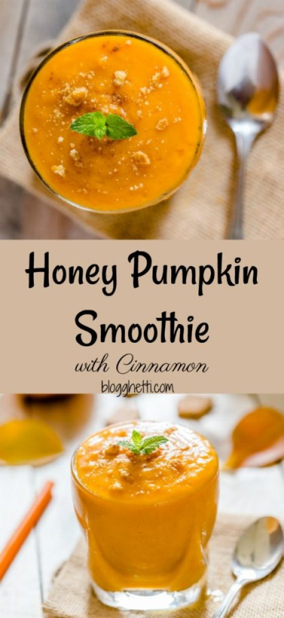 This delicious Honey Pumpkin Smoothie with Cinnamon is loaded with all the spices of the Fall season. It's like a slice of pumpkin pie in a glass with none of the guilt!