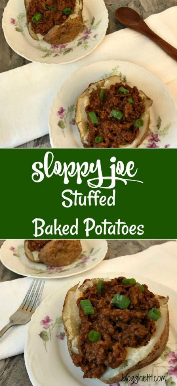 Sloppy Joe Stuffed Baked Potatoes - a new twist on a classic.  Baked potatoes stuffed with an easy stove-top sloppy joe mixture makes for a healthy and easy weeknight dinner.