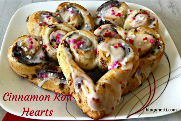 Cinnamon Rolls Hearts, baking, Valentine's Day