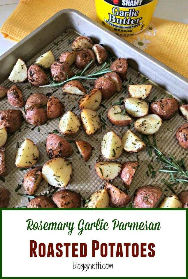 Rosemary Garlic Parmesan Roasted Potatoes #potatoes #rosemary #CookoutWeek
