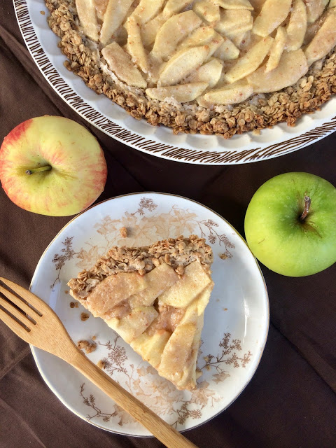 Apple Cream Pie with Oatmeal Crust from Savory Moments