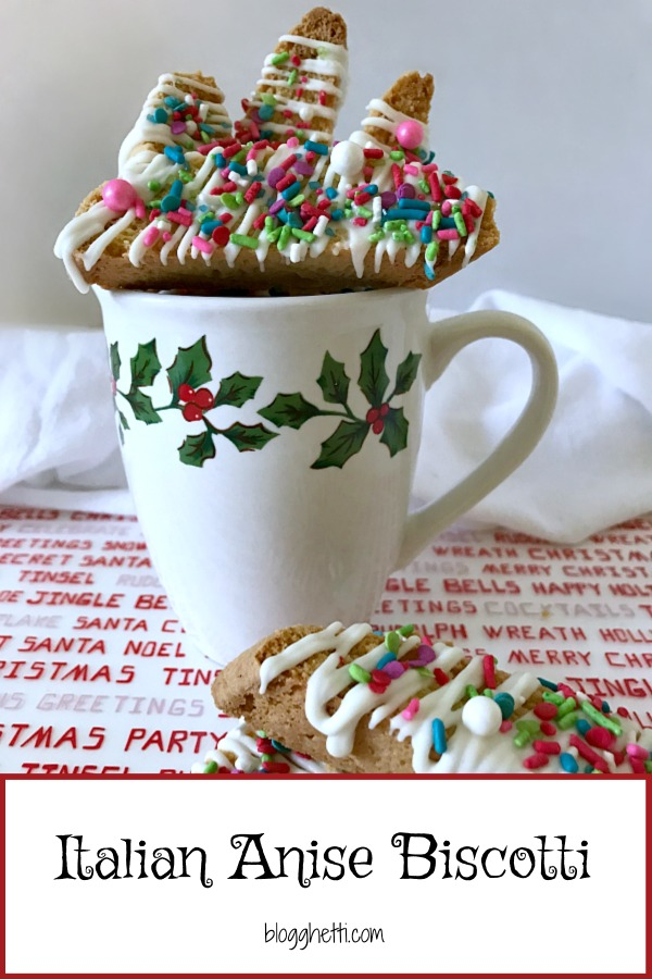Italian Anise Biscotti gets a festive holiday makeover with colorful sprinkles. Whether you dunk this twice-baked cookies into your coffee or tea, or simply enjoy them as a treat, you'll get that classic anise flavor in each bite with bonus white chocolate drizzle.