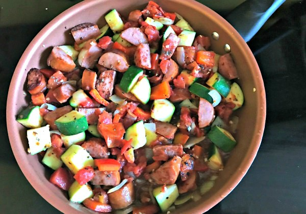 Skillet meal - Kielbasa, Zucchini, and Fire Roasted Tomatoes