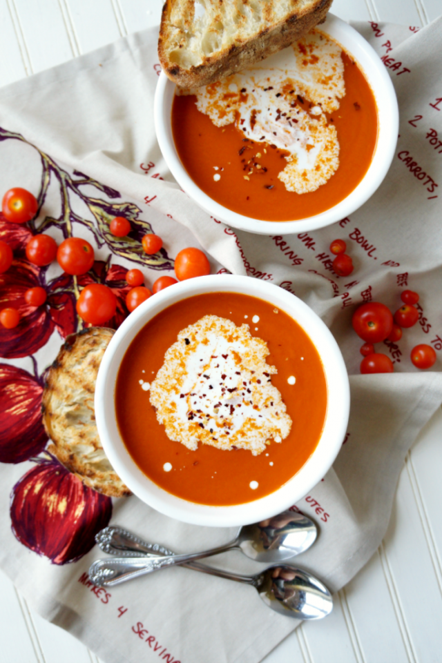 Creamy Tomato Basil Soup from The Baking Fairy