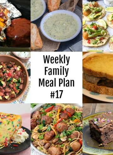 Here's this week's Weekly Family Meal Plan! My goal is to make your life just a bit easier. You'll find a variety of dinner ideas sure to please even the pickiest eater. #mealplan #menu #dinner #mealprep