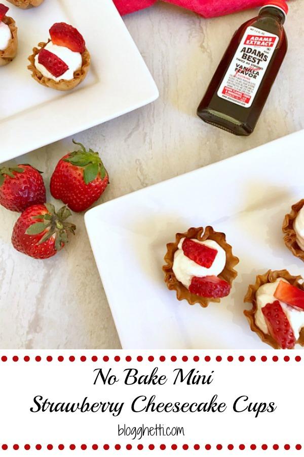 No Bake Mini Strawberry Cheesecake Cups - pin