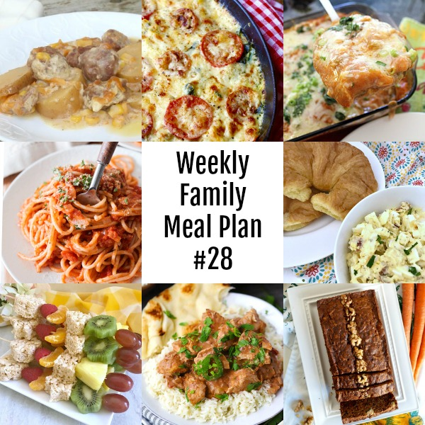 Collage of meals for Weekly Family Meal Plan