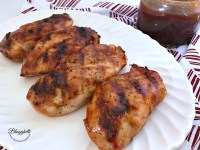 Grilled Chicken with Cherry Bourbon BBQ Sauce on platter - feature