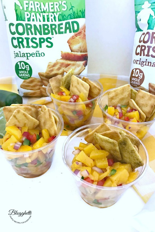 Individual cups of homemade peach salsa - pin