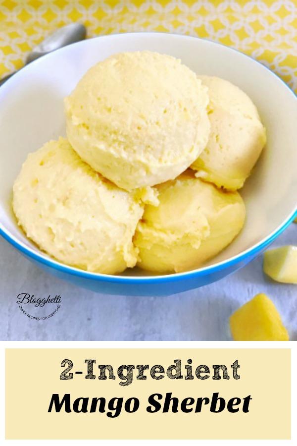 2 Ingredient Mango Sherbet - pin