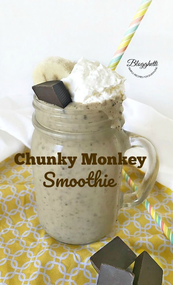 Close up of Chunky Monkey Smoothie in glass