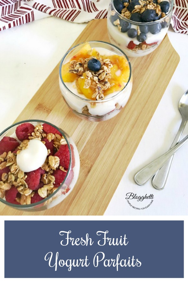 3 containers of Fresh Fruit Yogurt Parfaits