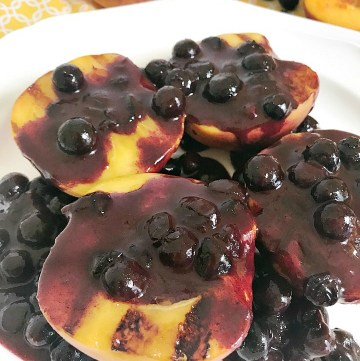 Grilled Peaches with Blueberry Syrup -- feature