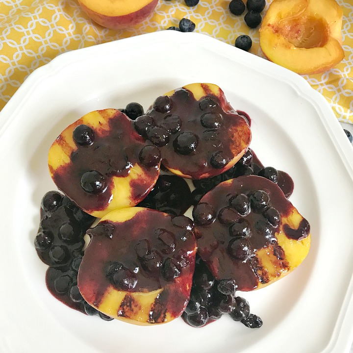 Grilled Peaches with Blueberry Syrup - square