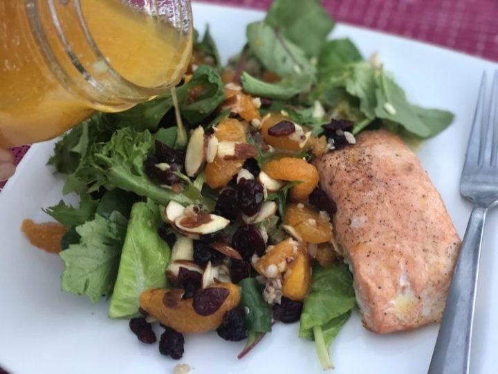 Mandarin Orange Honey Dressing with salad and salmon