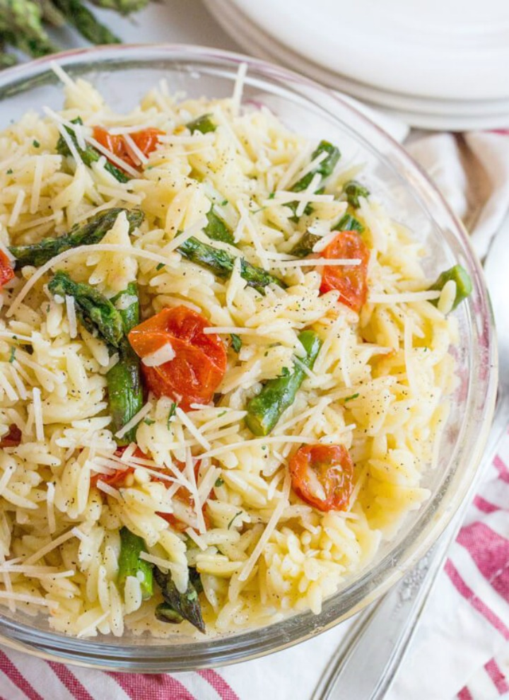 Lemon butter orzo with roasted asparagus and tomatoes