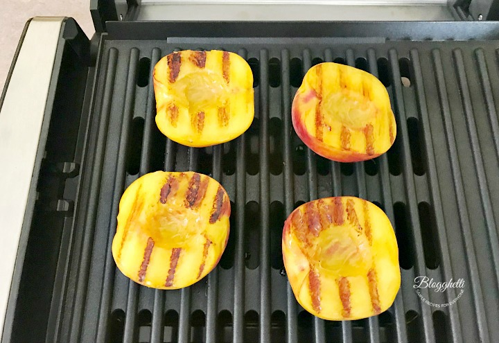 grill marks on fresh peaches