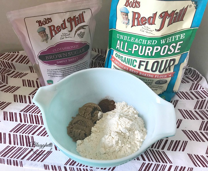 Mixing dry ingredients for muffins