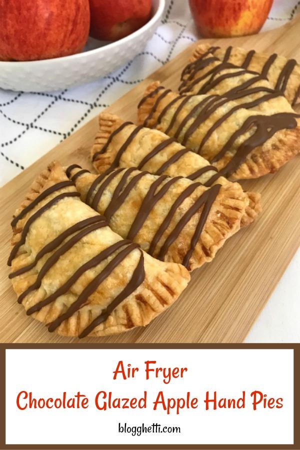 air fryer chocolate glazed apple hand pies