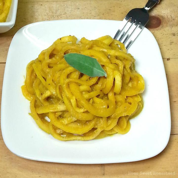 Butternut Squash Noodles with Pumpkin Sauce