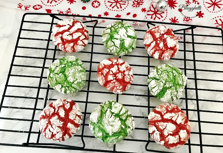 Christmas Crinkle cookies cooling on a wire rack