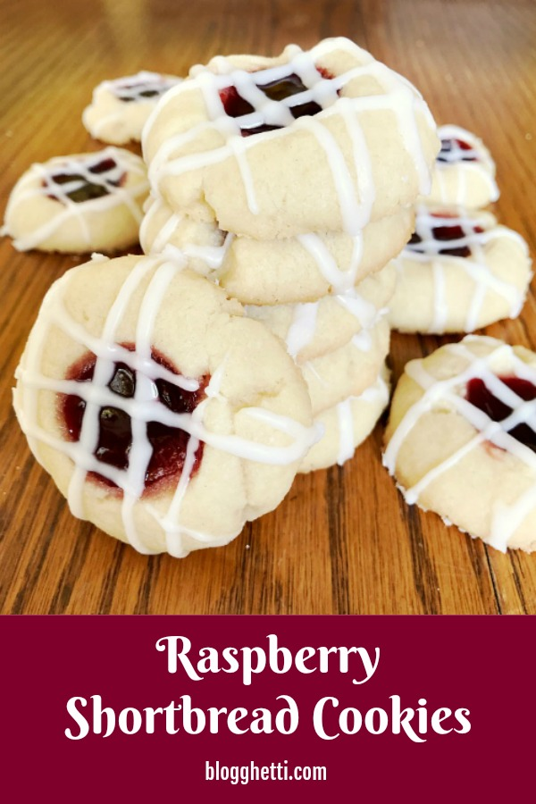 Raspberry Shortbread Cookies - pin image