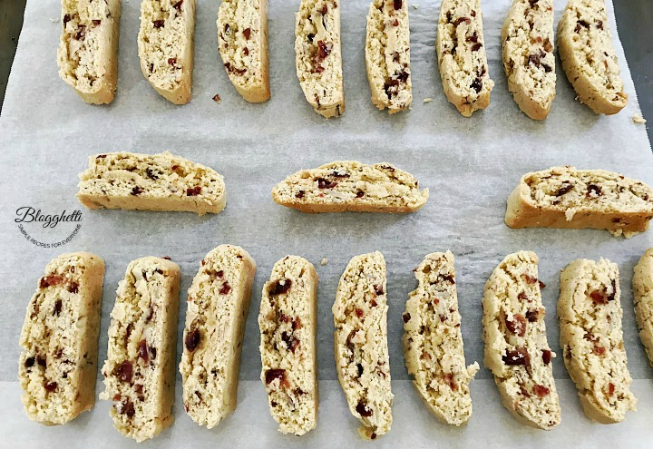 cranberry almond biscotti cut and ready to bake the second time