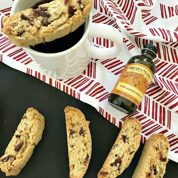 cup of coffee with Cranberry Almond Biscotti