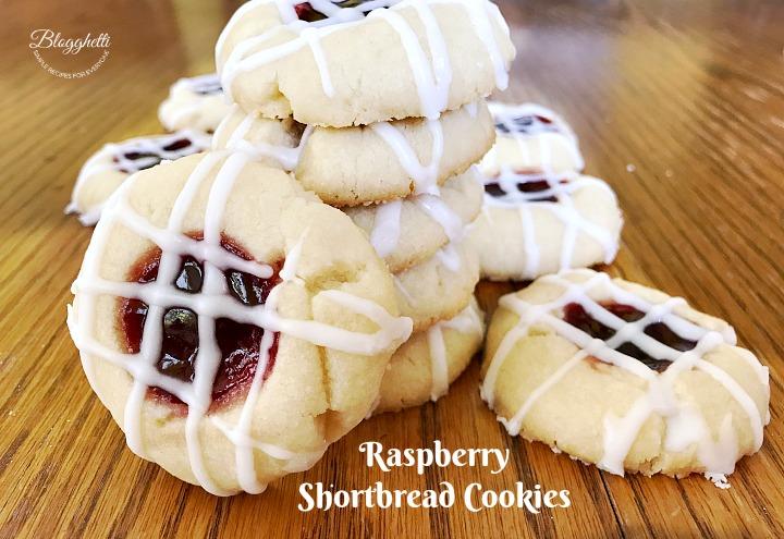 stack of Raspberry Shortbread Cookies