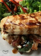 close up of Easy stuffed chicken breasts with Bacon, goat cheese and basil - feature