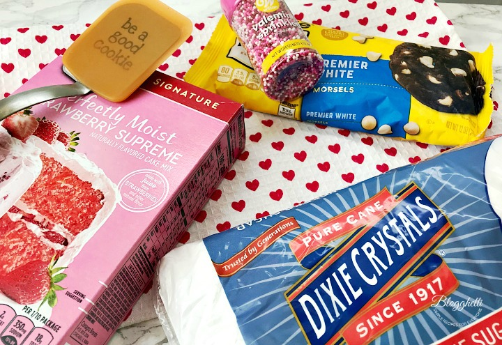 some of the ingredients for strawberry cheesecake cookies