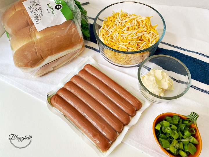 ingredients for grilled cheese hot dogs