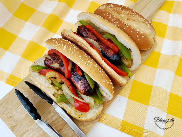 Grilled Italian Sausages with Peppers and Onion Sandwiches