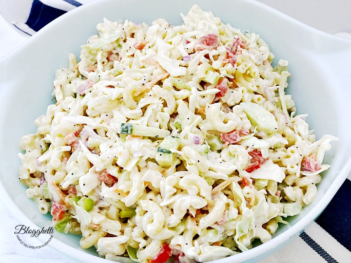 close up of creamy macaroni coleslaw salad