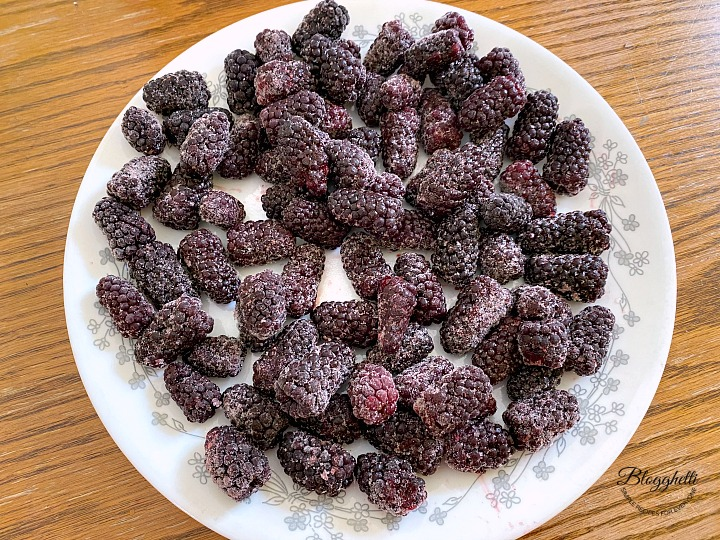 frozen blackberries on a plate