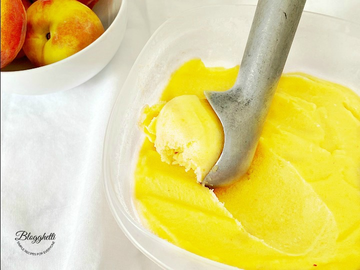 fresh peach sorbet ready to serve