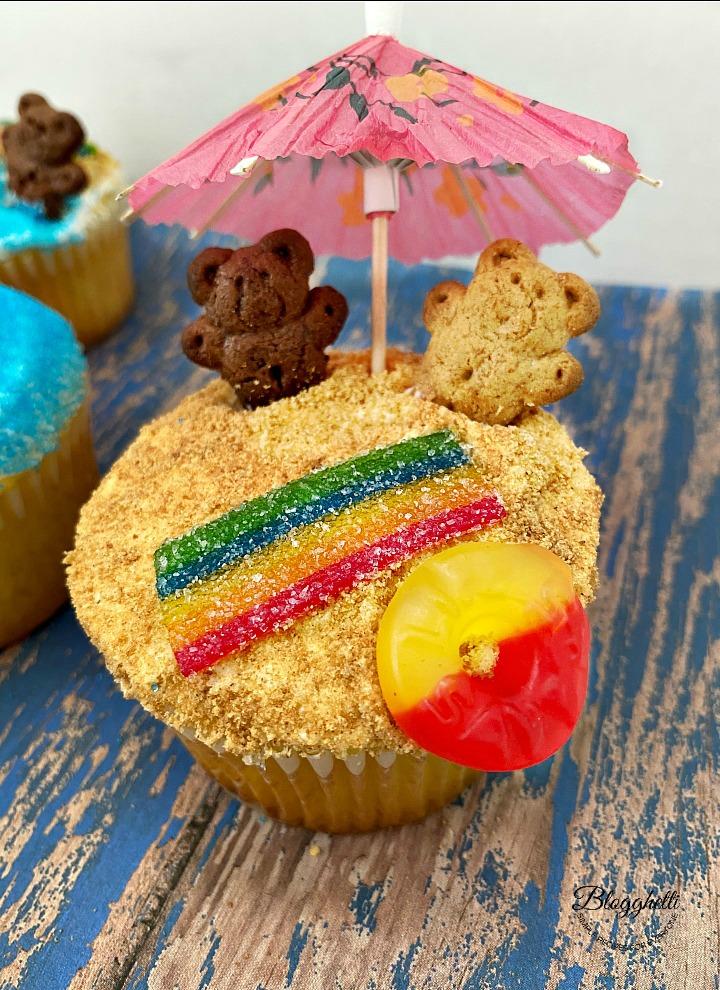 summer beach theme cupcake