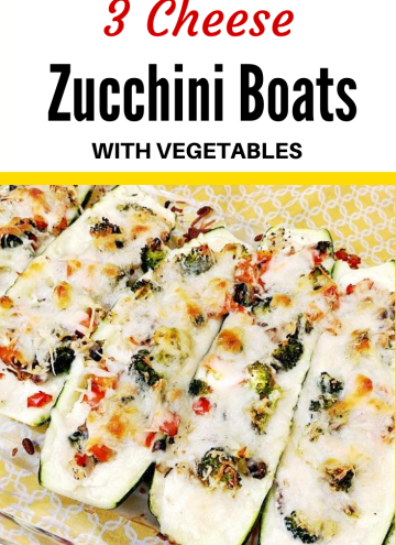 3 cheese zucchini boats with vegetables