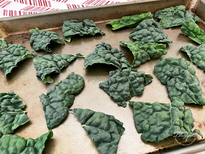 Kale pieces on tray