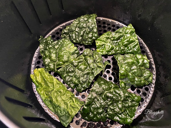 seasoned Kale pieces in air fryer
