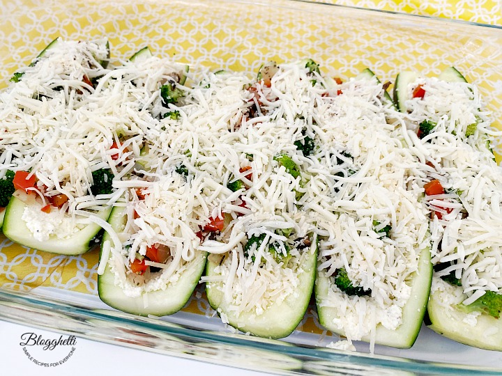 top cheese layer for zucchini boats
