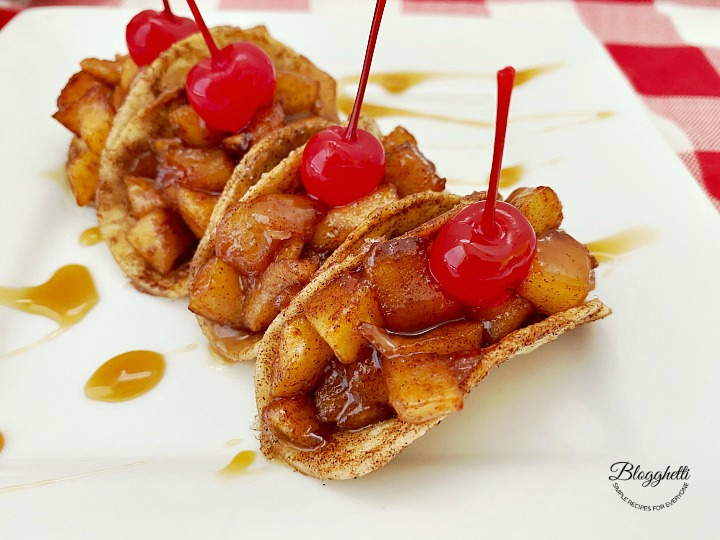 close up of mini apple pie tacos