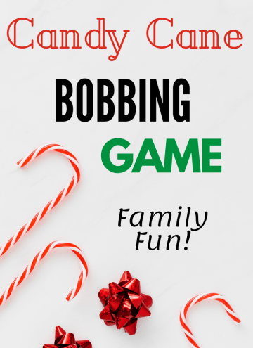 Candy cane bobbing game with text overlay