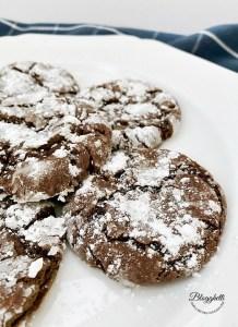 chocolate crinkle cookies on white plate
