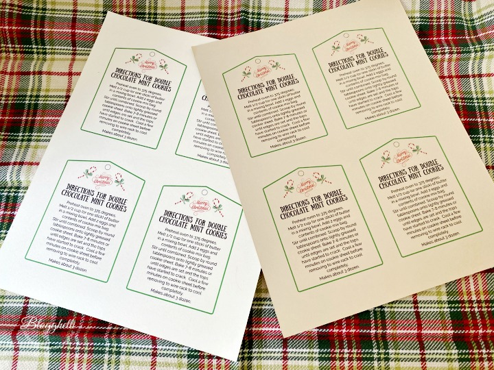 recipe card gift tags on cardstock